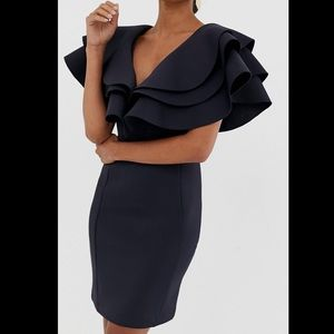 ASOS Neoprene Black Ruffle Dress